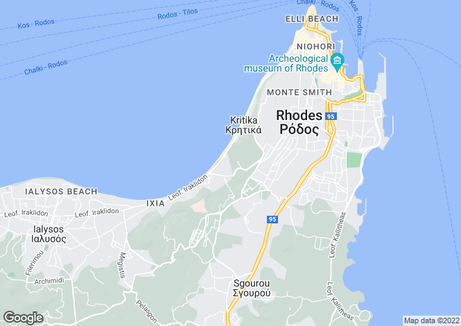 Map for , Rhodes Town / Ixia / Ialyssos, Greece