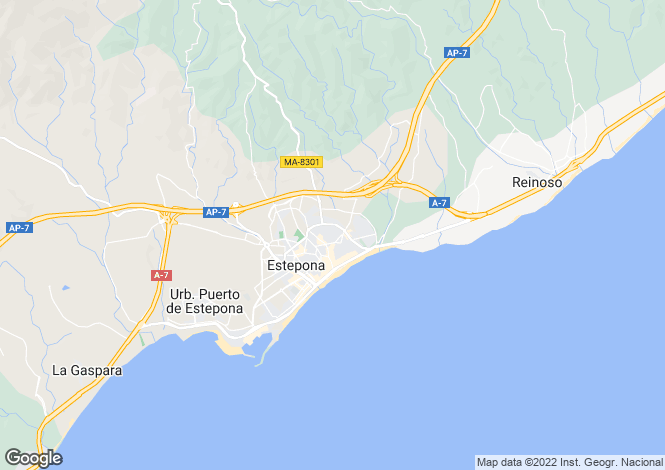 Map for Puerto Romano, Estepona, Malaga, Spain