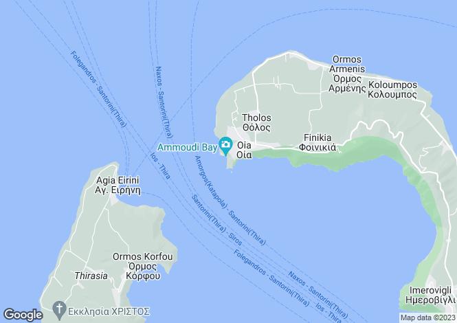 Map for Cyclades islands, Santorini, Oia