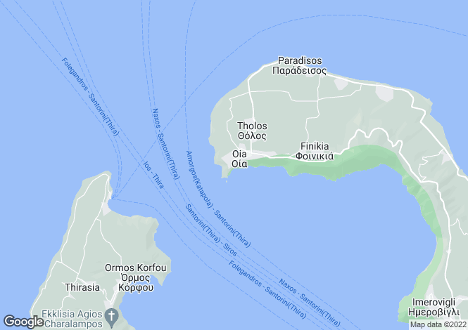Map for Cyclades islands, Santorini, Oia
