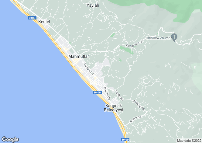 Map for Antalya, Alanya, Mahmutlar