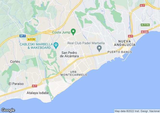 Map for San Pedro Playa, San Pedro de Alcantara, Malaga, Spain