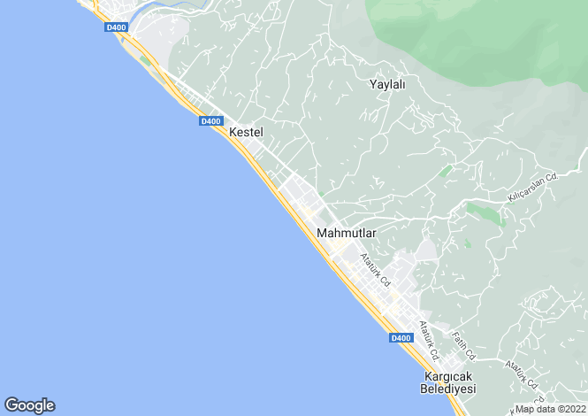 Map for Antalya, Alanya, Mahmutlar