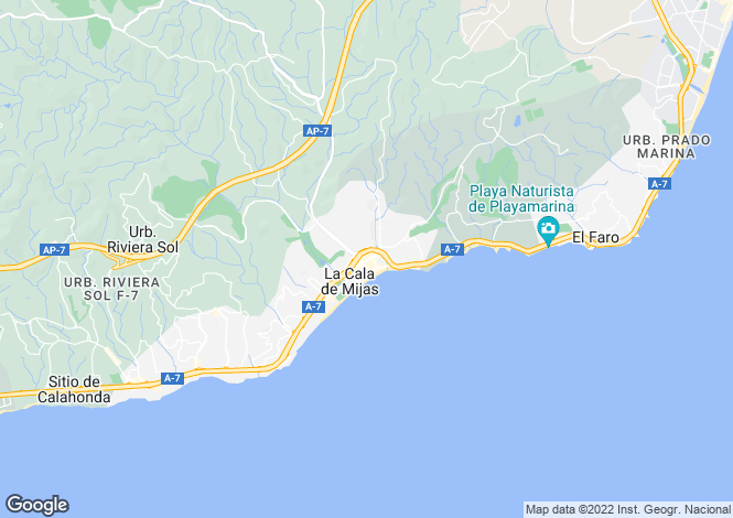 Map for La Cala Hills, Mijas Costa, Malaga, Spain