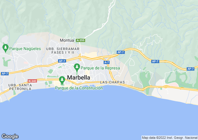Map for Marbella East, Malaga (Costa del Sol)