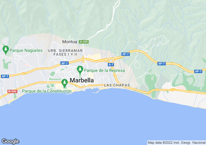 Map for Playa Esmeralda, Marbella Golden Mile, Malaga, Spain