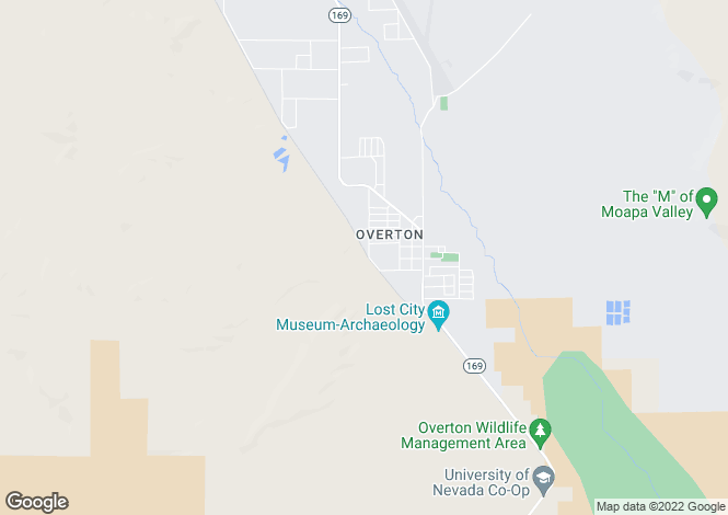 Map for Nevada, Clark County, Overton