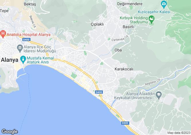Map for Antalya, Alanya, Oba