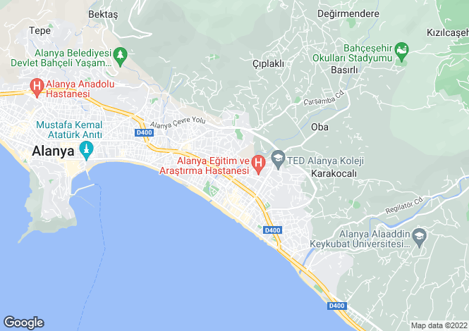 Map for Alanya, Antalya,  Turkey