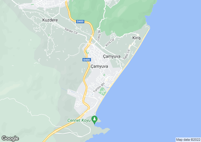 Map for Çamyuva, Kemer, Antalya