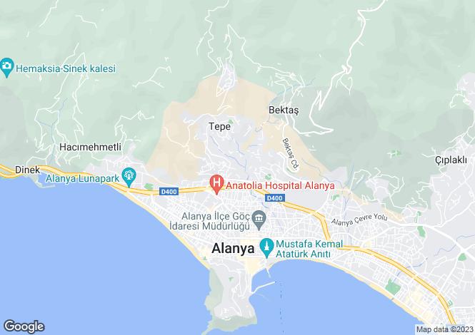Map for Alanya,Antalya,Turkey