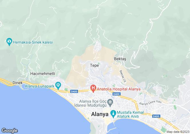 Map for Tepe, Alanya, Antalya