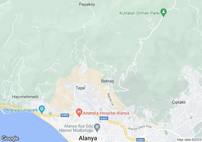 Map for Bektas, Alanya, Antalya