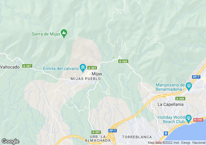 Map for Andalucia, Malaga, Mijas