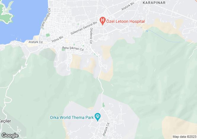 Map for Patlangiç, Fethiye, Mugla