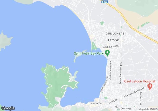 Map for Karagozler, Fethiye, Mugla