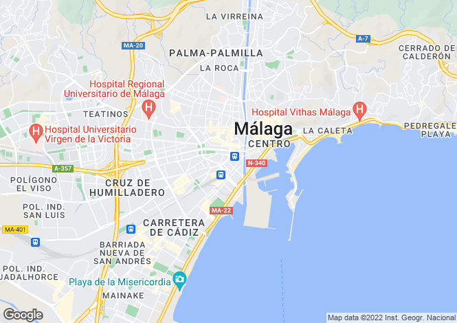 Map for Andalusia, Malaga, Málaga City