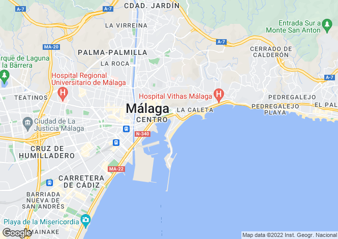 Map for Malaga city, Estepona, Spain