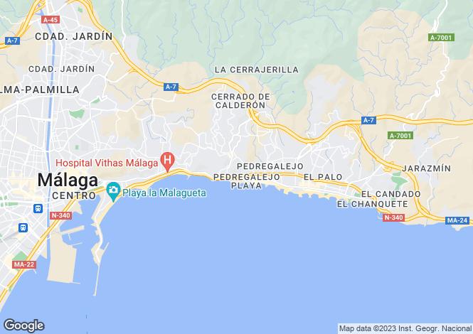 Map for Pedregalejo/El Palo, Malaga, Spain
