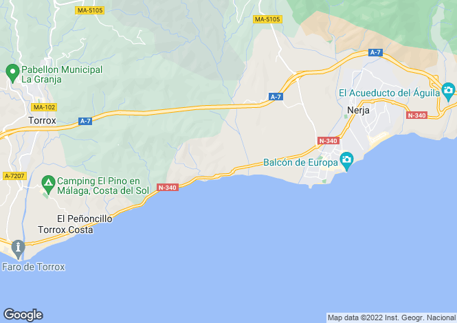Map for Spain - Andalusia, Malaga, Nerja