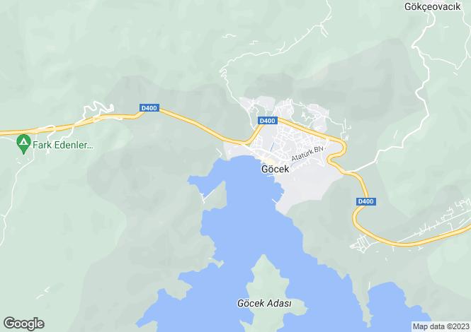 Map for Mugla, Fethiye, Göcek