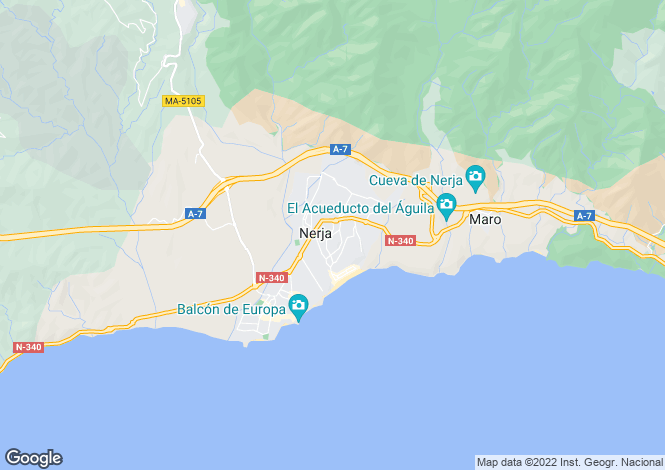 Map for Andalucia, Malaga, Nerja
