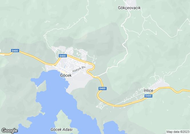 Map for Göcek, Fethiye, Mugla