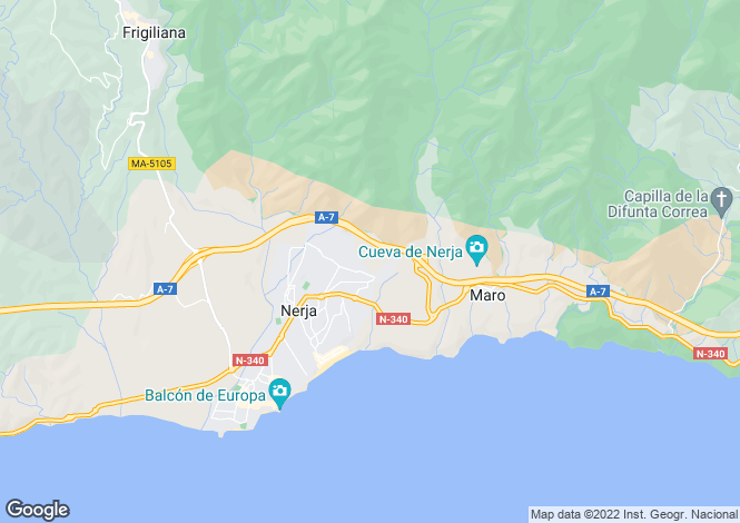 Map for Andalusia, Malaga, Nerja