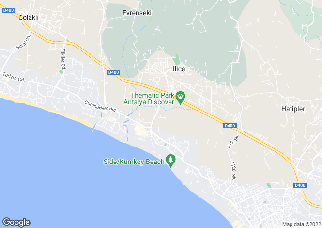 Map for Side, Antalya,  Turkey