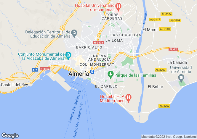 Map for Andalucia, Almería, Almería