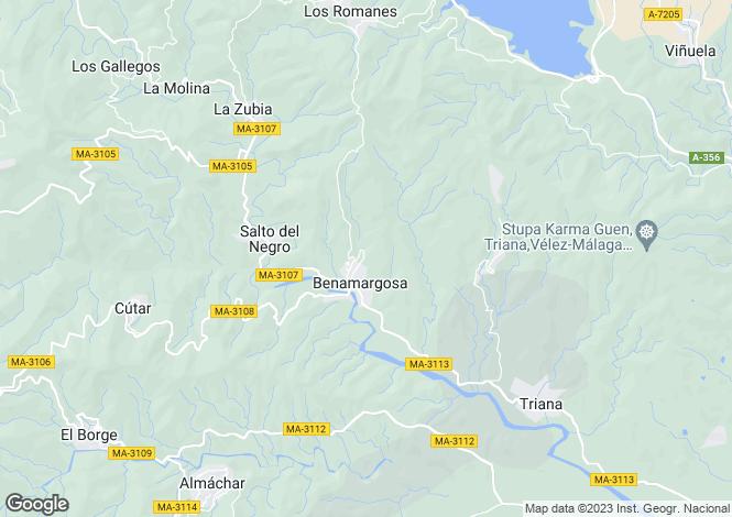 Map for Andalucia, Malaga, Benamargosa