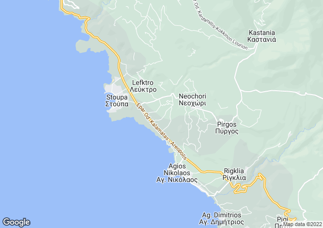 Map for Mani, Peloponnese