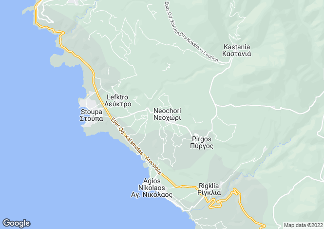 Map for Messenian Mani, Messinia, Peloponnese