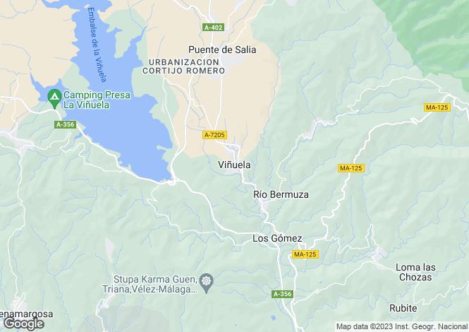Map for Andalusia, Malaga, Vinuela