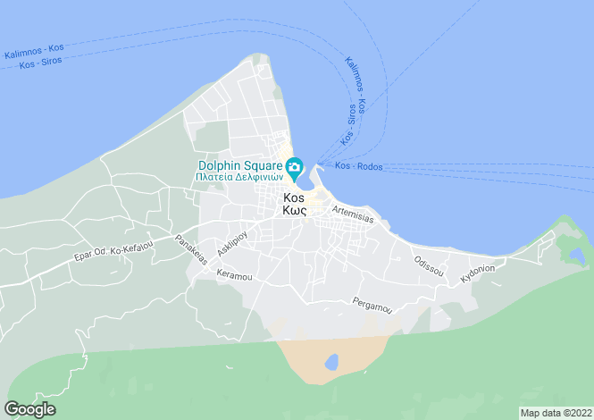 Map for Dodecanese islands, Kos, Kos