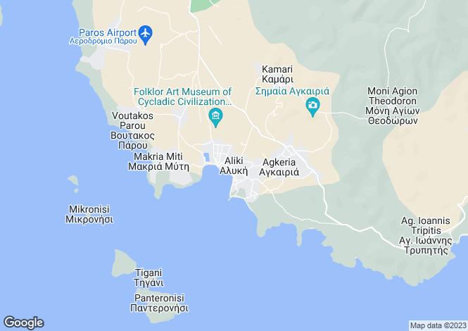 Map for Cyclades islands, Paros, Aliki