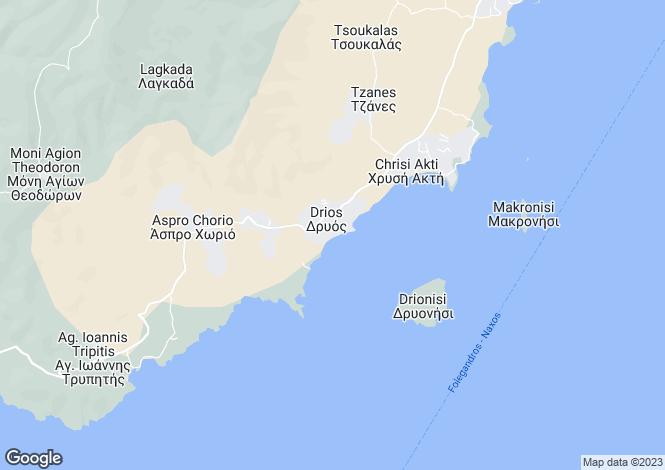Map for Cyclades islands, Folegandros, Dryos
