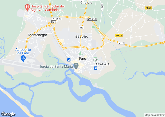 Map for Faro, Portugal