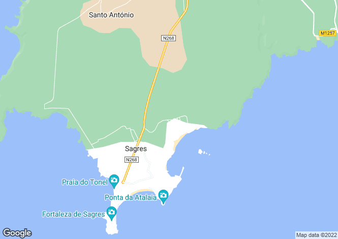 Map for Sagres, Algarve