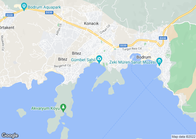 Map for Gumbet, Bodrum, Mugla