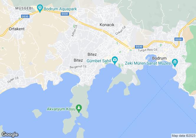 Map for Gumbet, Bodrum, Mugla