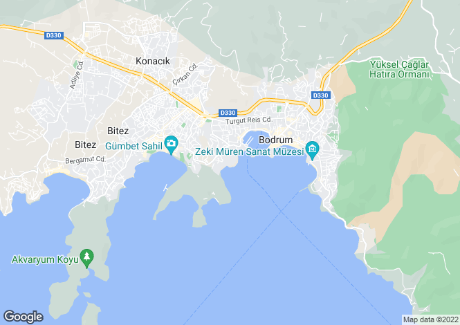 Map for Aegean Coast, Bodrum, Gulluk