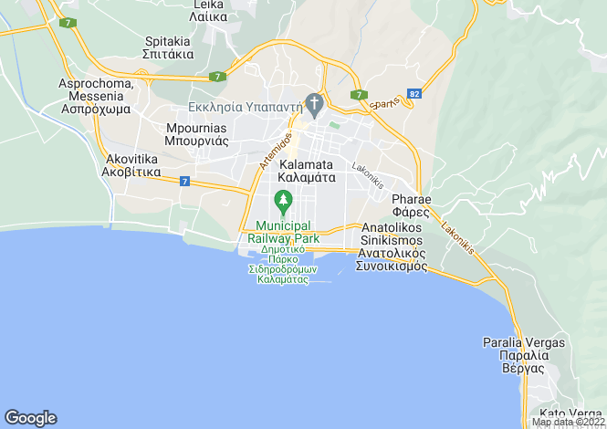 Map for Kalamata, Messinia, Peloponnese