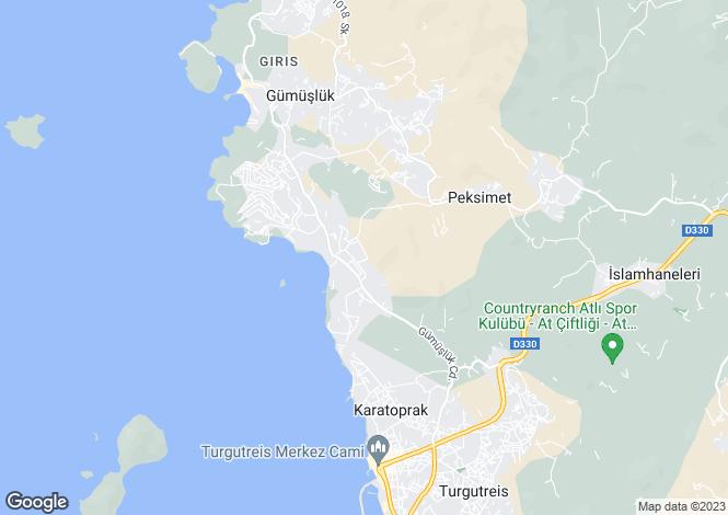 Map for Gumusluk, Bodrum, Mugla