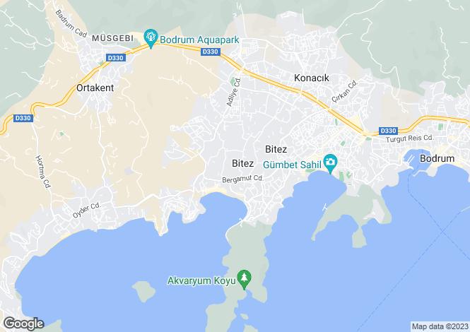 Map for Mugla, Bodrum, Bitez