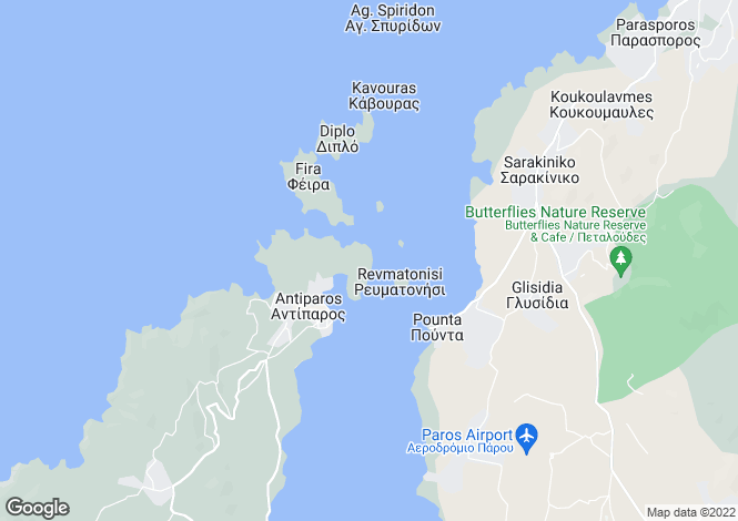 Map for Cyclades islands, Antiparos