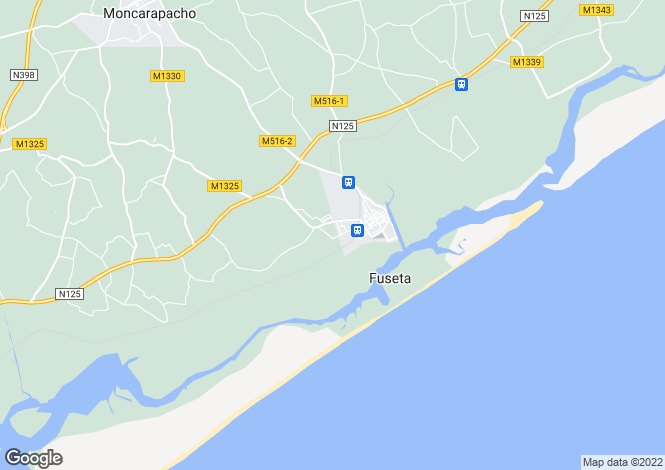 Map for Algarve, Fuseta