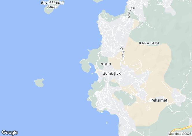 Map for Mugla, Bodrum, Gumusluk