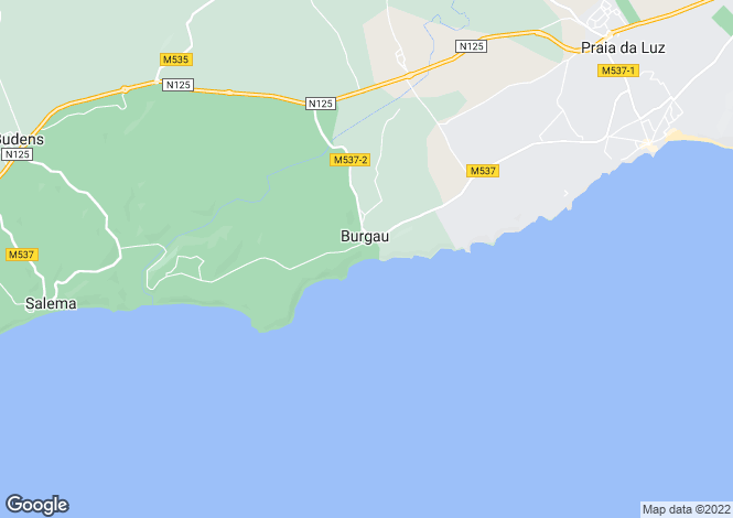 Map for Algarve, Burgau