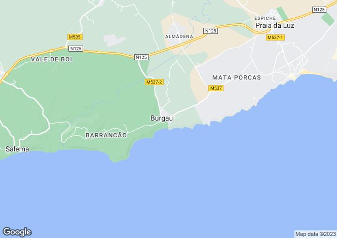 Map for Algarve, Burgau